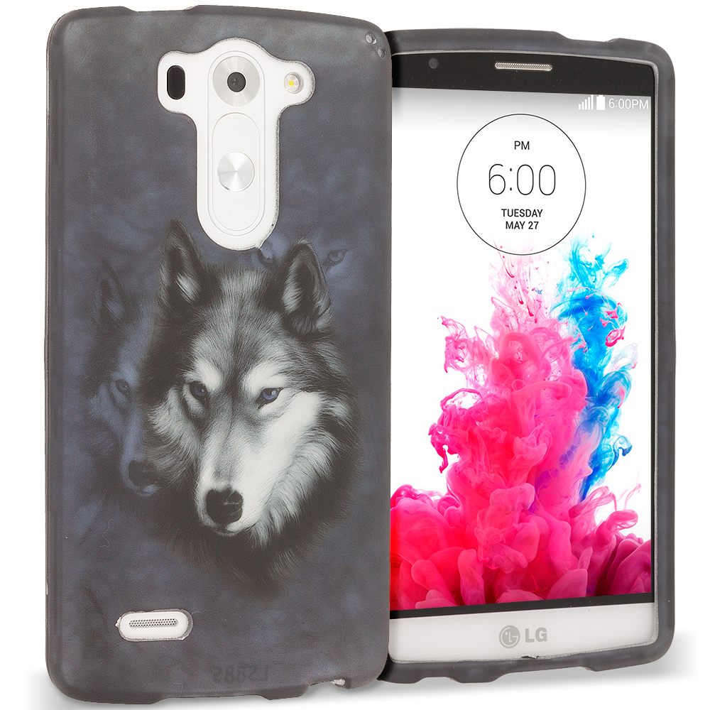 LG G3 Vigor D725 G3s Wolf 2D Hard Rubberized Design Case Cover