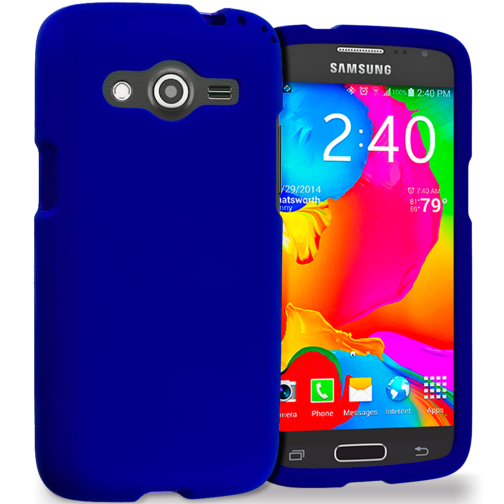 Samsung Galaxy Avant G386 Blue Hard Rubberized Case Cover