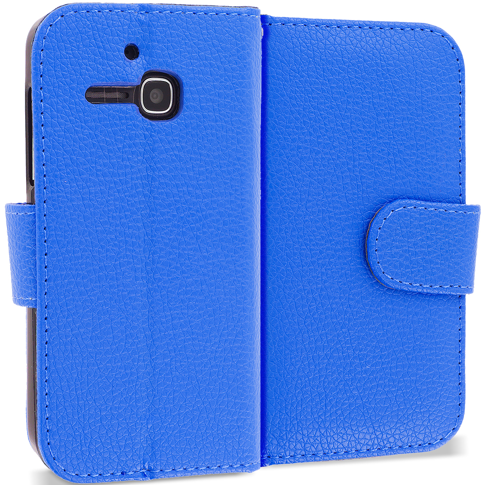 Alcatel One Touch Evolve 5020T Blue Leather Wallet Pouch Case Cover with Slots