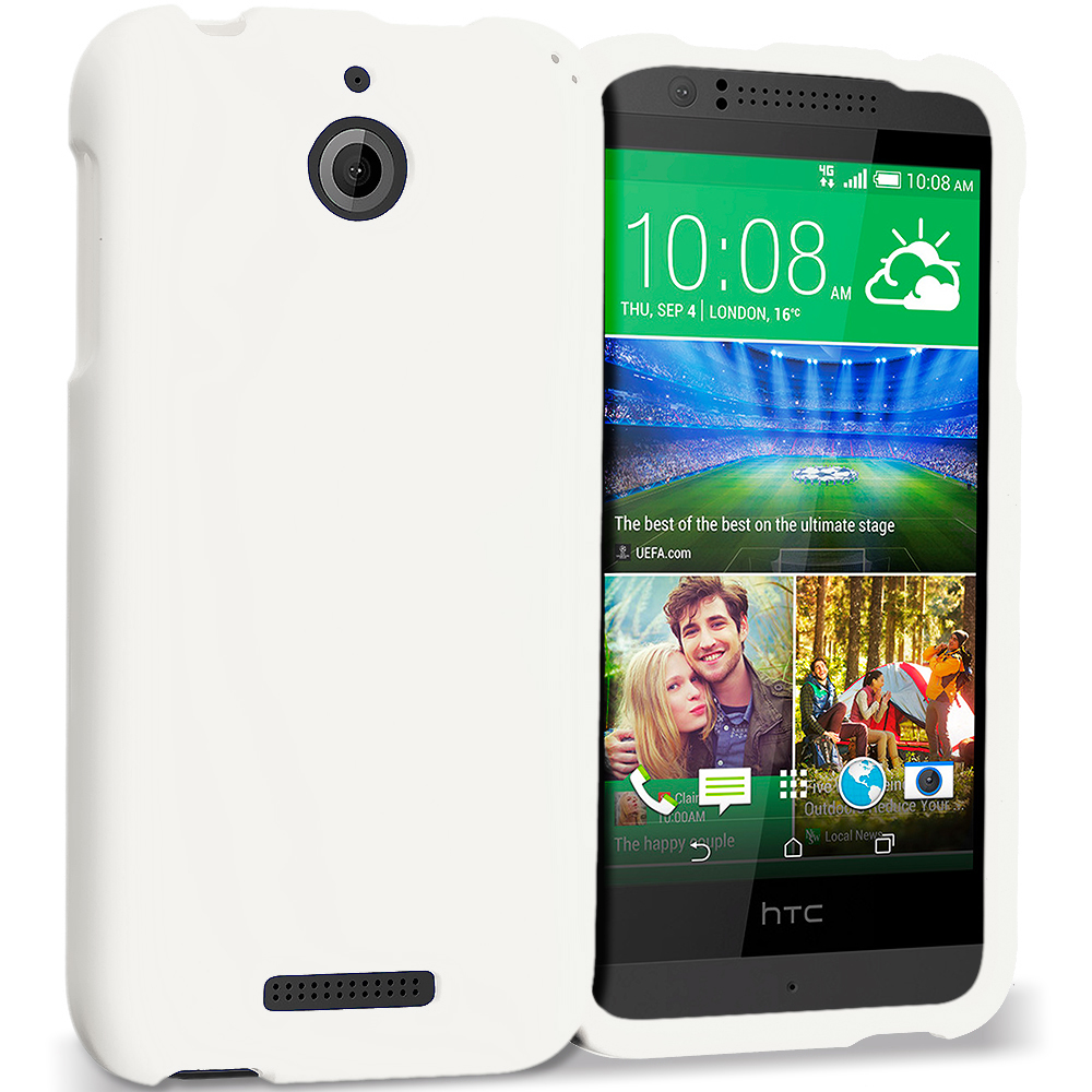 HTC Desire 510 512 White Hard Rubberized Case Cover