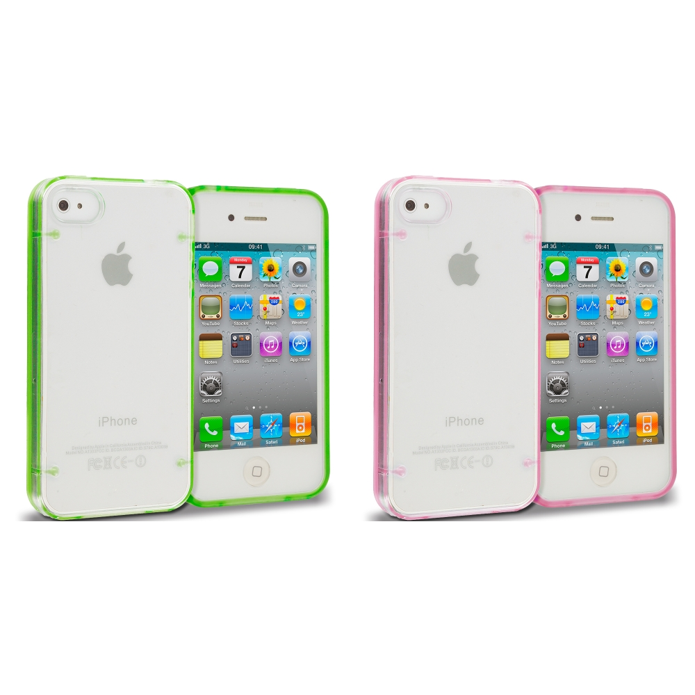 Apple iPhone 4 Bundle Pack Neon Green Pink Crystal Robot Hard TPU Case Cover