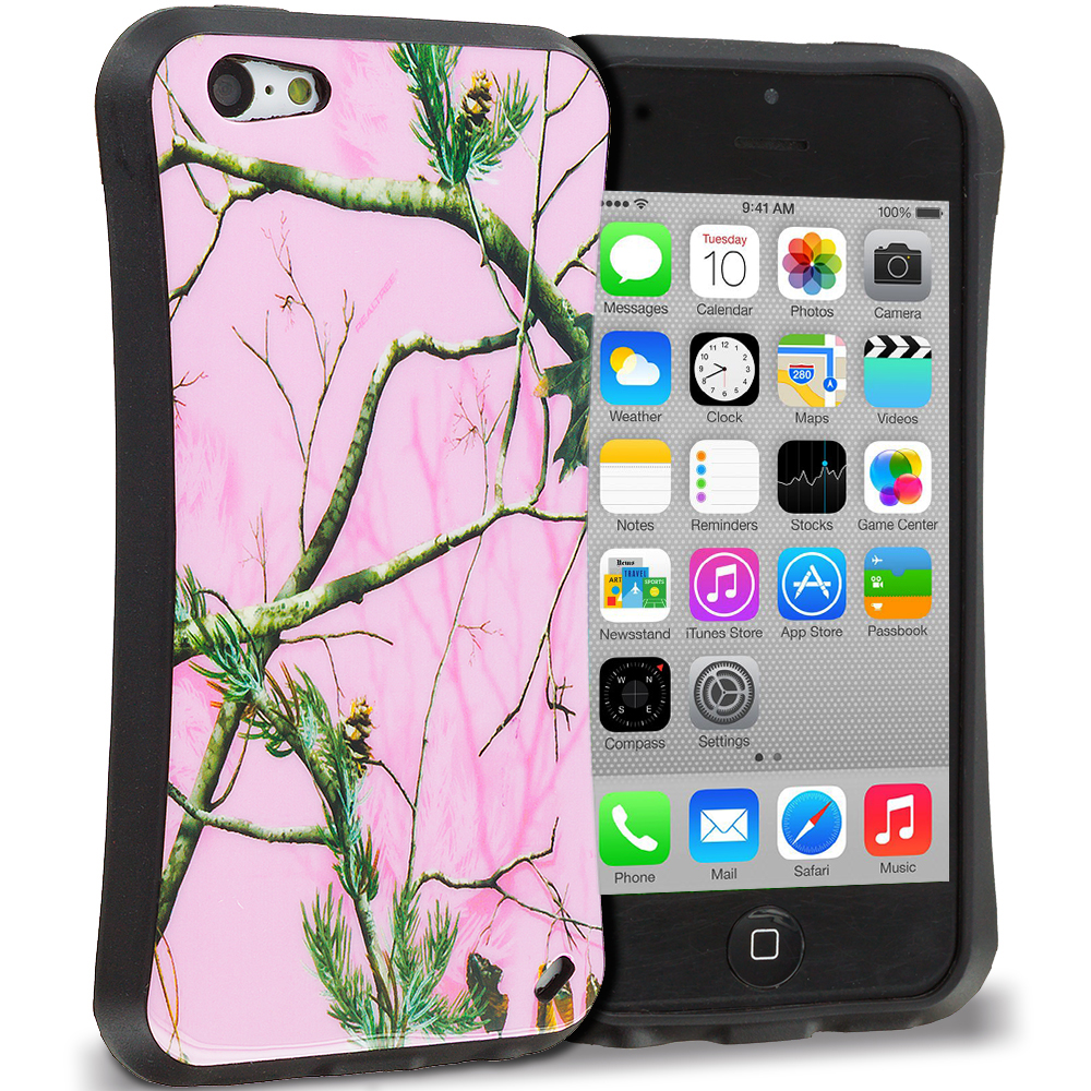 Apple iPhone 5C Hot Pink Tree Hybrid TPU Hard Soft Shockproof Drop Proof Case Cover