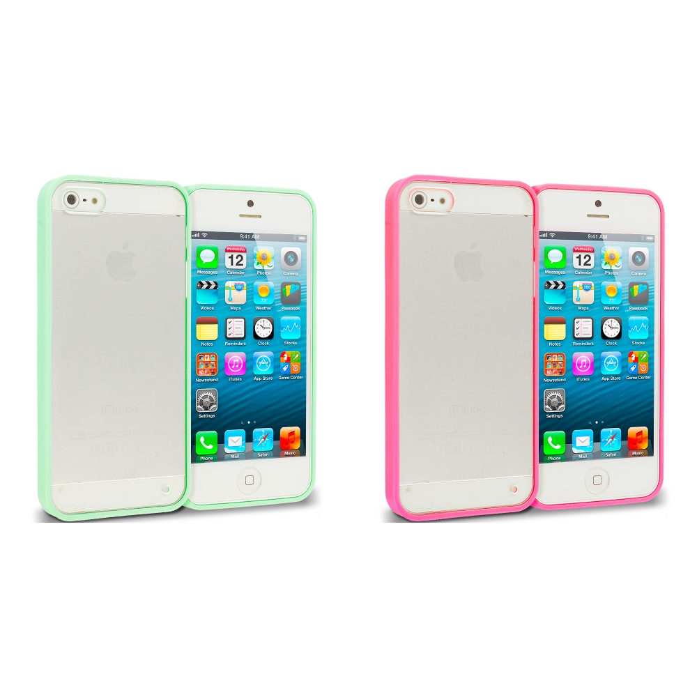 Apple iPhone 5/5S/SE 2 in 1 Combo Bundle Pack - Green Pink TPU Plastic Hybrid Case Cover