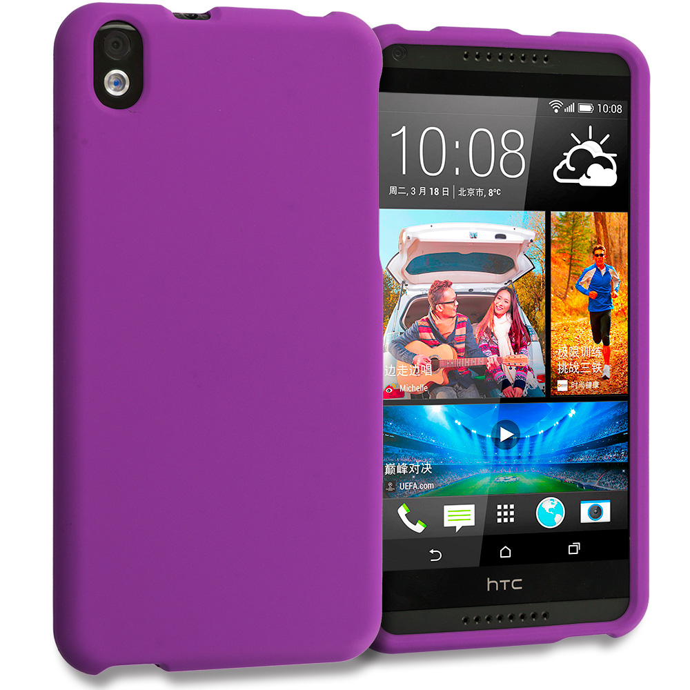 HTC Desire 816 Purple Hard Rubberized Case Cover