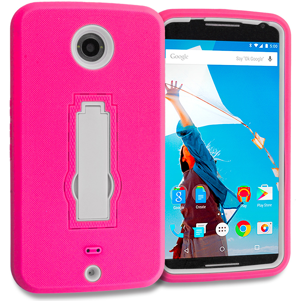 Motorola Google Nexus 6 Hot Pink / White Hybrid Heavy Duty Hard Soft Case Cover with Kickstand