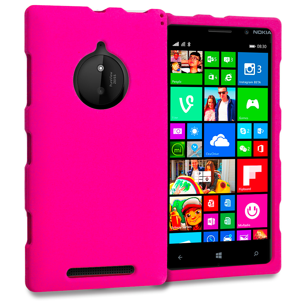 Nokia Lumia 830 Hot Pink Hard Rubberized Case Cover