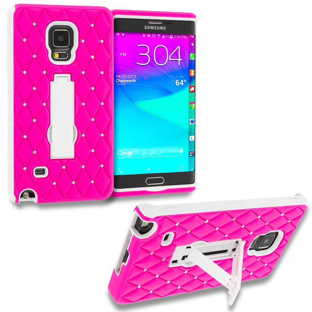 Samsung Galaxy Note Edge Hot Pink / White Hybrid Diamond Bling Hard Soft Case Cover with Kickstand