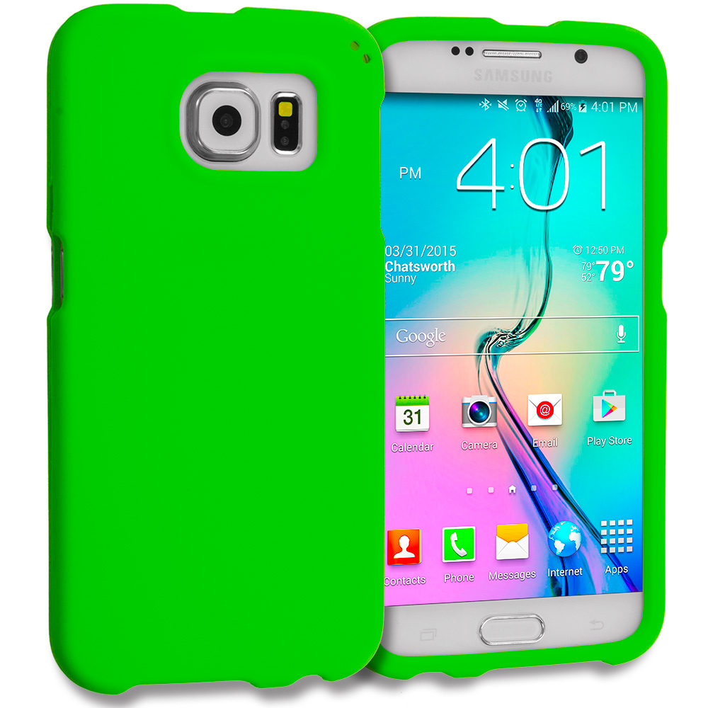 Samsung Galaxy S6 Combo Pack : Neon Green Hard Rubberized Case Cover : Color Neon Green