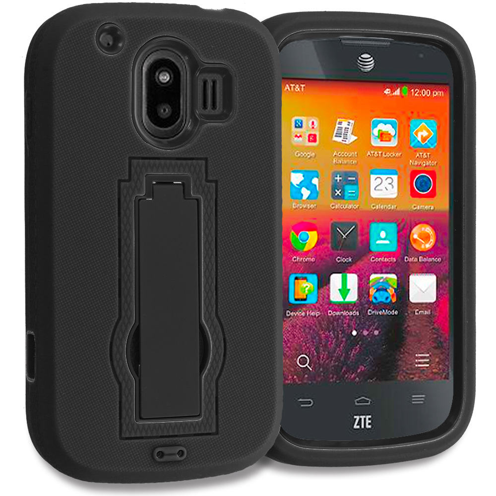 ZTE Compel Black / Black Hybrid Heavy Duty Hard Soft Case Cover with Kickstand