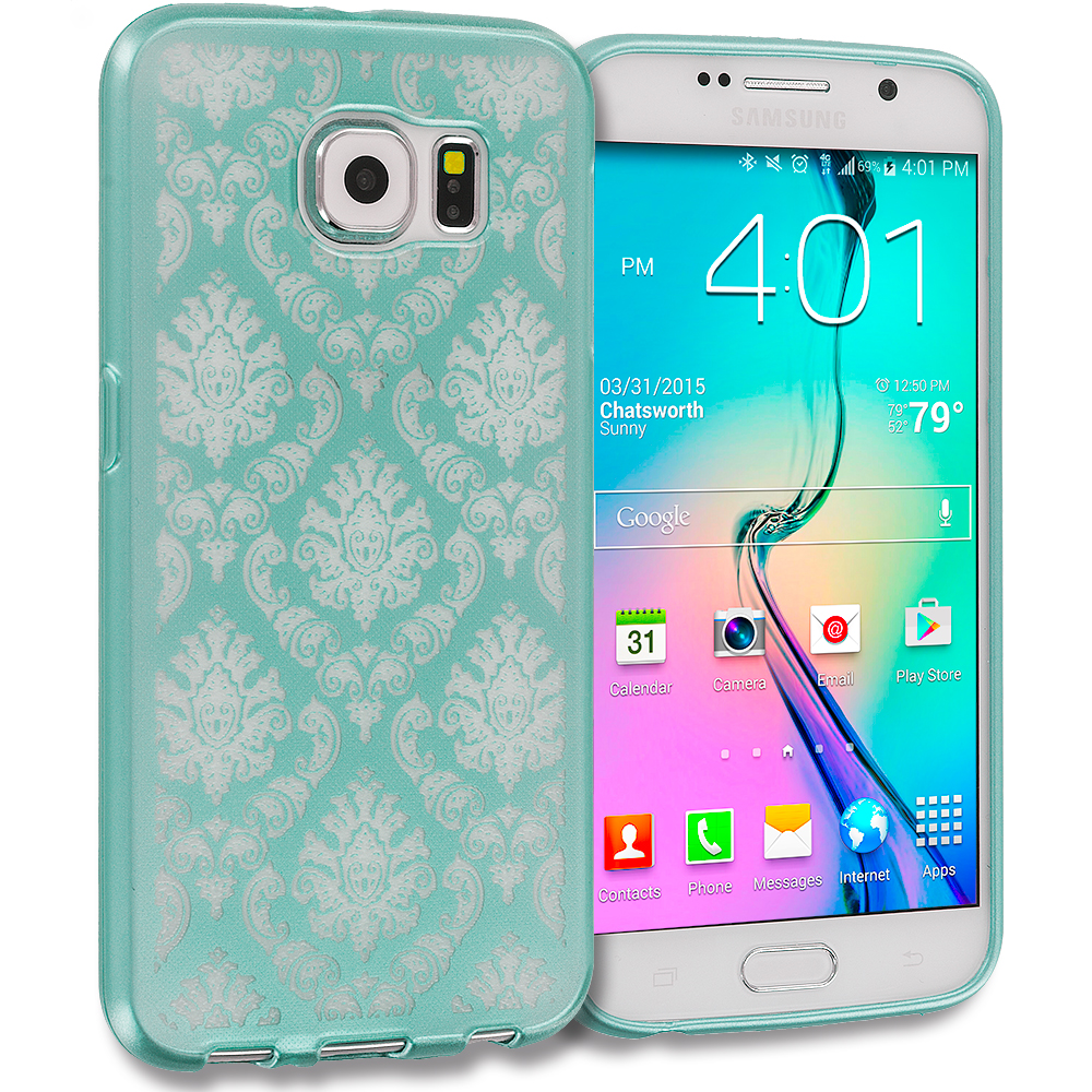 Samsung Galaxy S6 Teal TPU Damask Designer Luxury Rubber Skin Case Cover