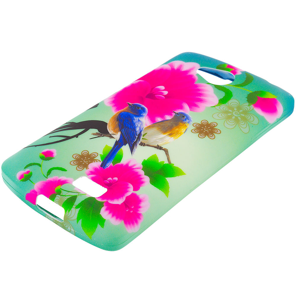 LG Transpyre Tribute F60 Blue Bird Pink Flower TPU Design Soft Rubber Case Cover