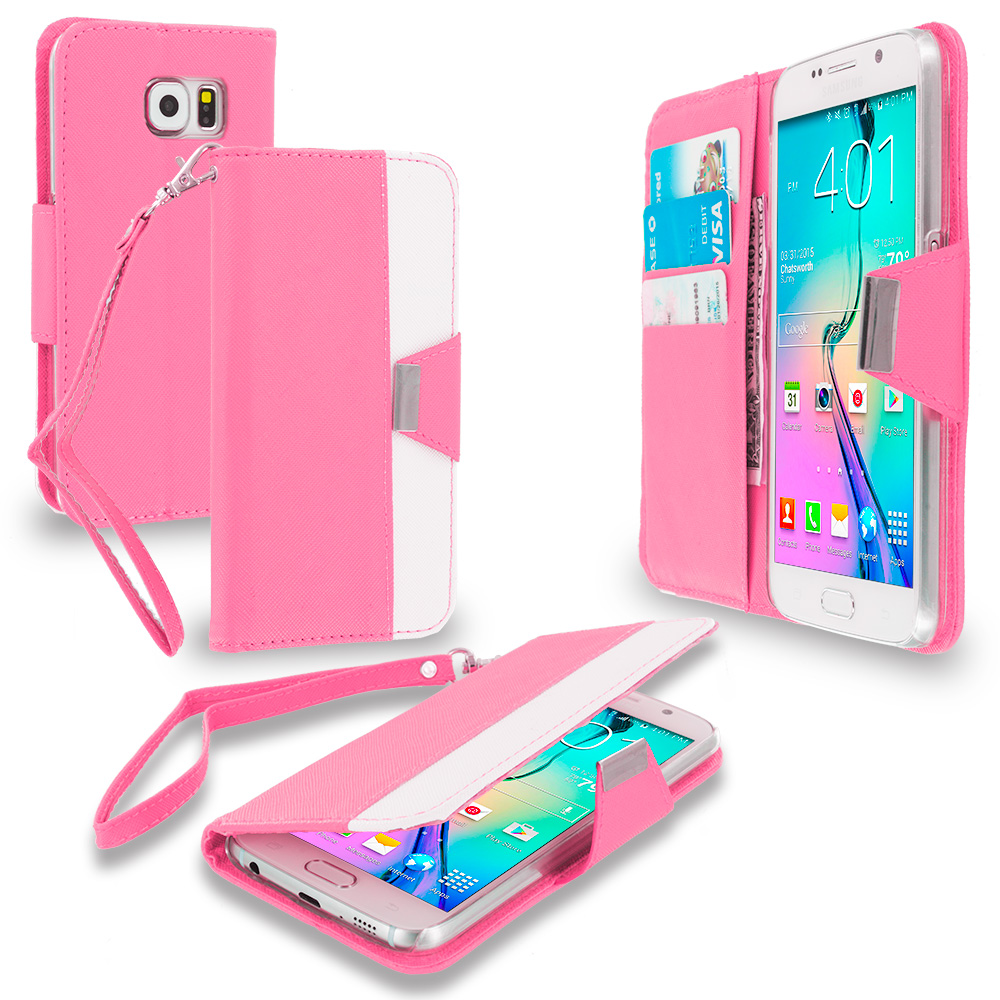 Samsung Galaxy S6 Combo Pack : Light Pink Wallet Magnetic Metal Flap Case Cover With Card Slots : Color Light Pink