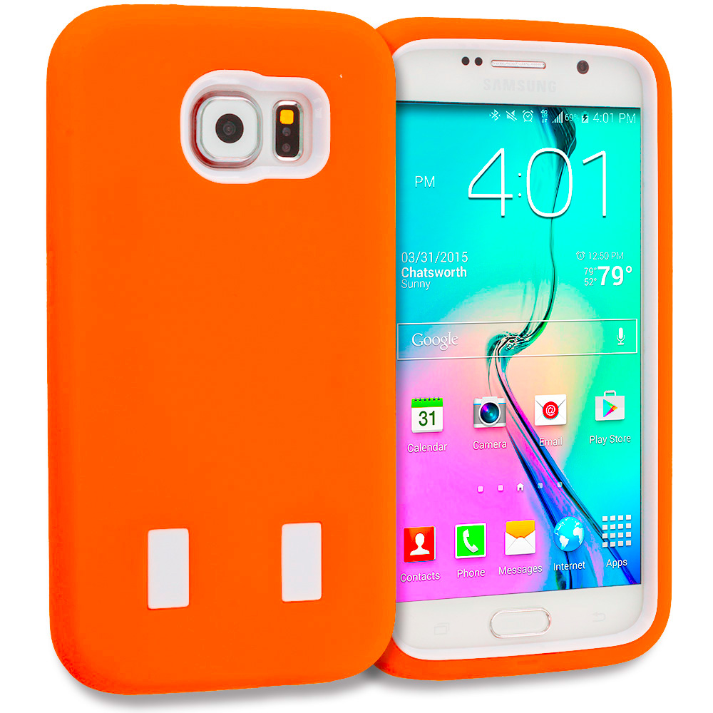 Samsung Galaxy S6 Orange / White Hybrid Deluxe Hard/Soft Case Cover