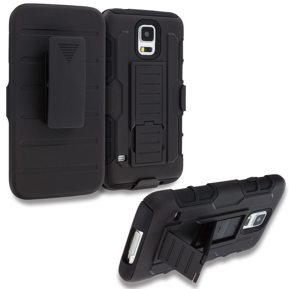 Samsung Galaxy S5 Black Hybrid Rugged Robot Armor Heavy Duty Case Cover with Belt Clip Holster