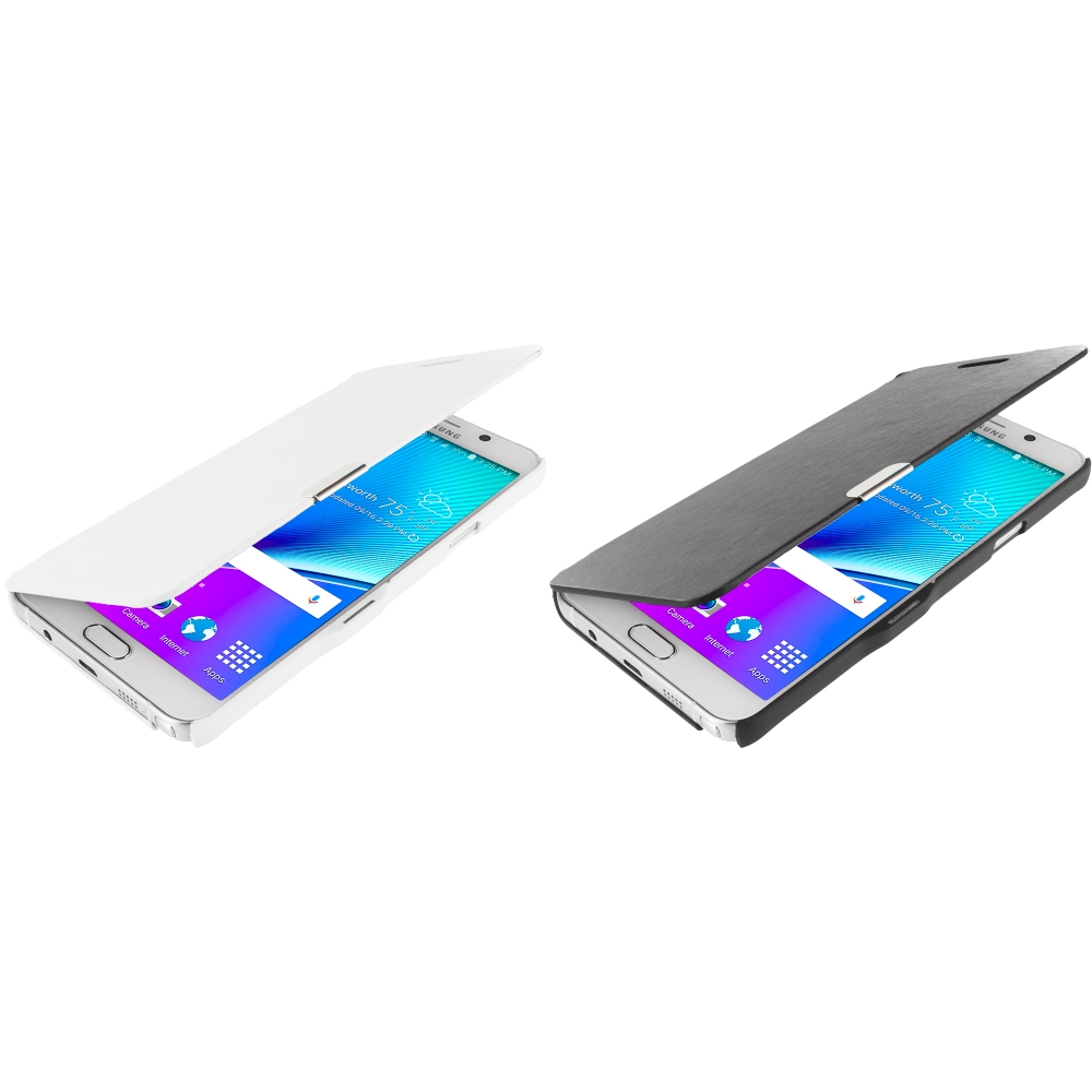 Samsung Galaxy Note 5 2 in 1 Combo Bundle Pack - Magnetic Flip Wallet Case Cover Pouch