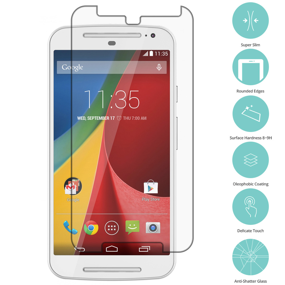 Motorola Moto G 2nd Gen 2014 Clear Tempered Glass Film Screen Protector Clear
