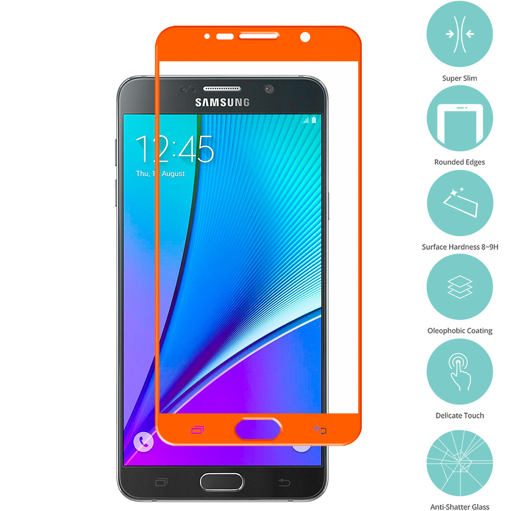 Samsung Galaxy Note 5 Orange Tempered Glass Film Screen Protector Colored