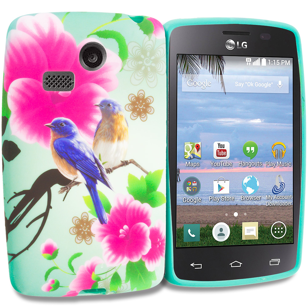 LG Sunrise Lucky L15G L16C Blue Bird Pink Flower TPU Design Soft Rubber Case Cover