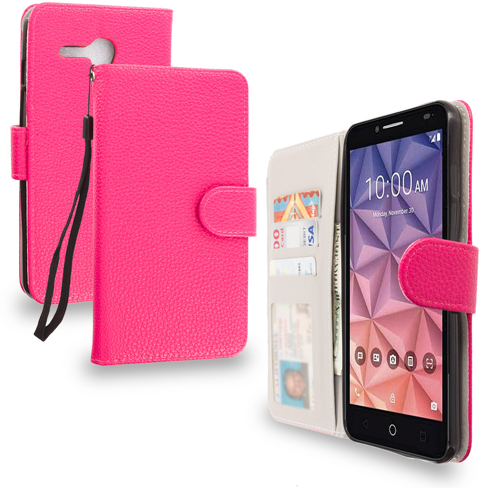 Alcatel OneTouch Fierce XL Hot Pink Leather Wallet Pouch Case Cover with Slots
