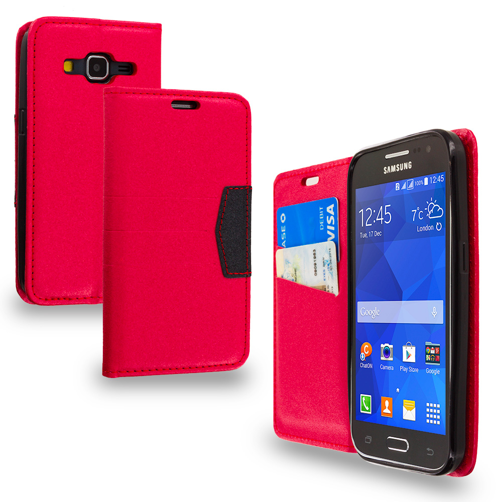 Samsung Galaxy Prevail LTE Core Prime G360P Red Wallet Flip Leather Pouch Case Cover with ID Card Slots