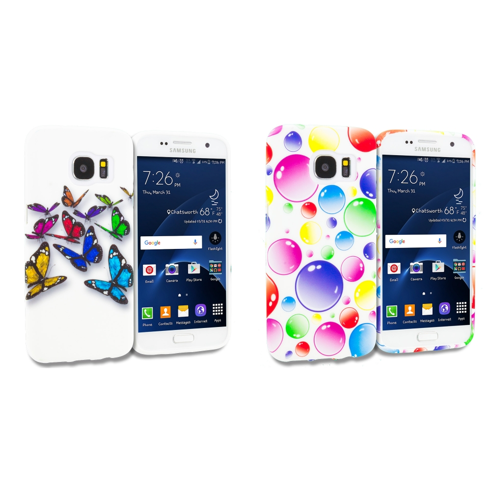 Samsung Galaxy S7 Combo Pack : Blue Colorful Butterfly TPU Design Soft Rubber Case Cover