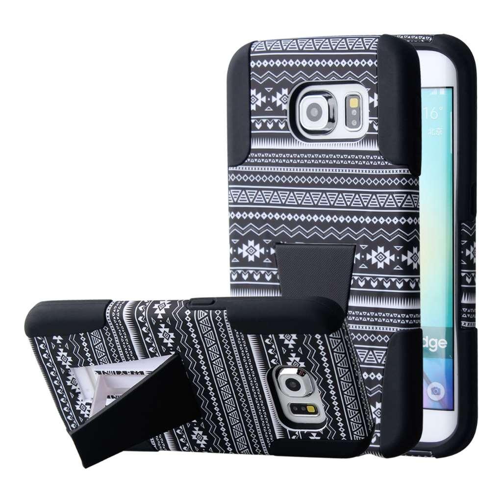 Samsung Galaxy S6 Edge - Black Aztec MPERO IMPACT X - Kickstand Case Cover