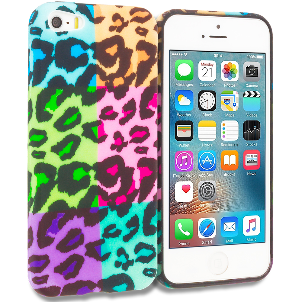Apple iPhone 5/5S/SE Combo Pack : Raining Hearts TPU Design Soft Rubber Case Cover : Color Splicing Grid Leopard