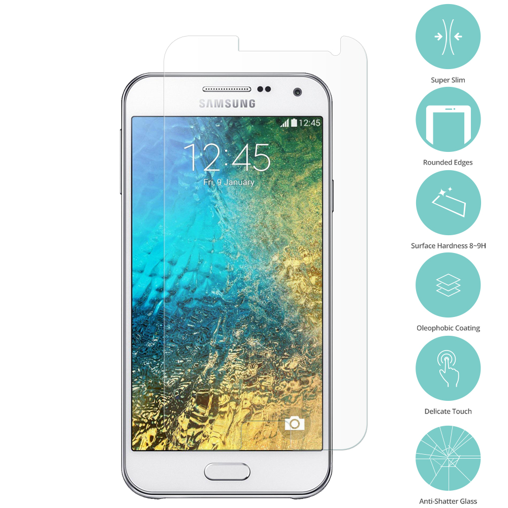 Samsung Galaxy E5 S978L Clear Tempered Glass Film Screen Protector Clear