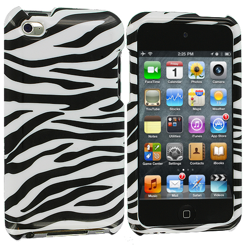 Apple iPod Touch 4th Generation Black / White Zebra Design Crystal Hard Case Cover