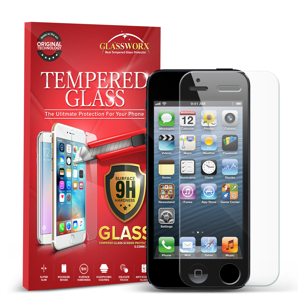 Apple iPhone 5/5S/SE/5C GlassWorX HD Clear Tempered Glass Screen Protector