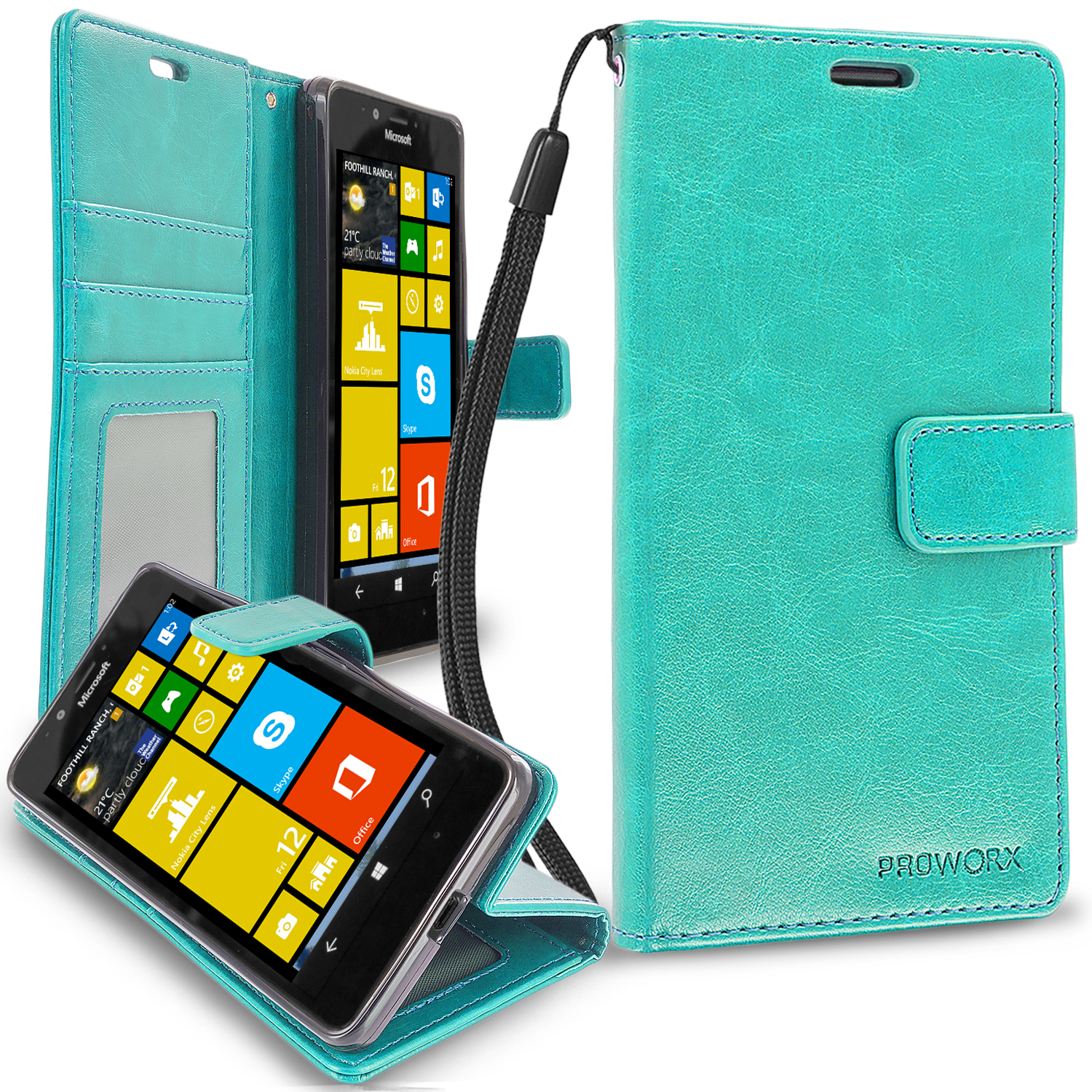 Microsoft Lumia 950 Mint Green ProWorx Wallet Case Luxury PU Leather Case Cover With Card Slots & Stand