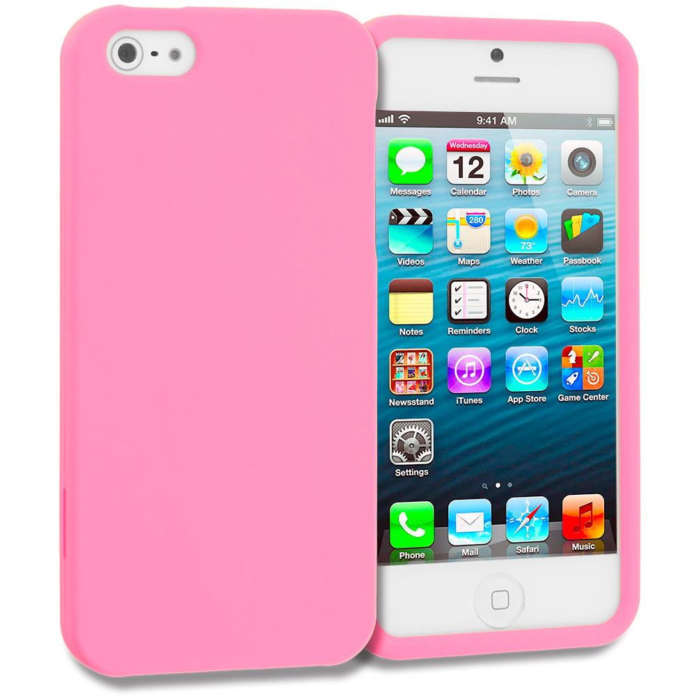 Apple iPhone 5/5S/SE Light Pink Hard Rubberized Case Cover