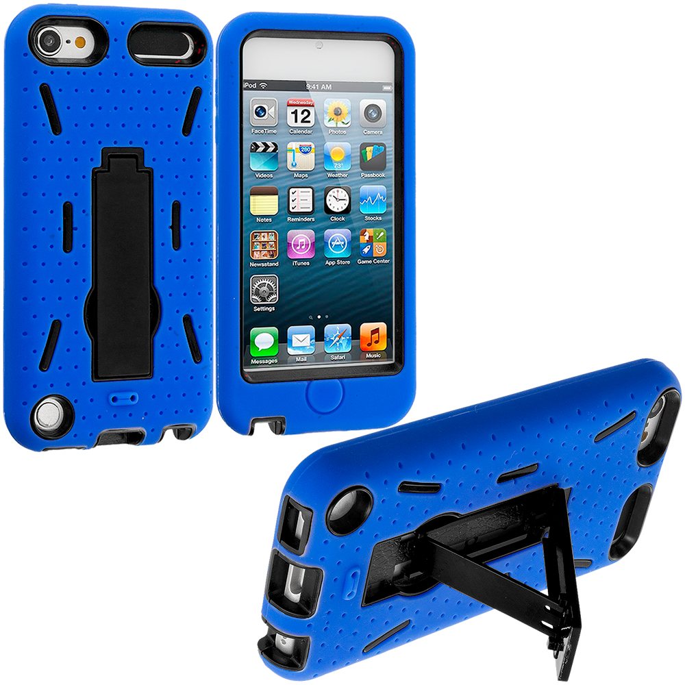 Apple iPod Touch 5th 6th Generation 2 in 1 Combo Bundle Pack - Black / Blue Hybrid Heavy Duty Hard/Soft Case Cover with Stand : Color Blue / Black