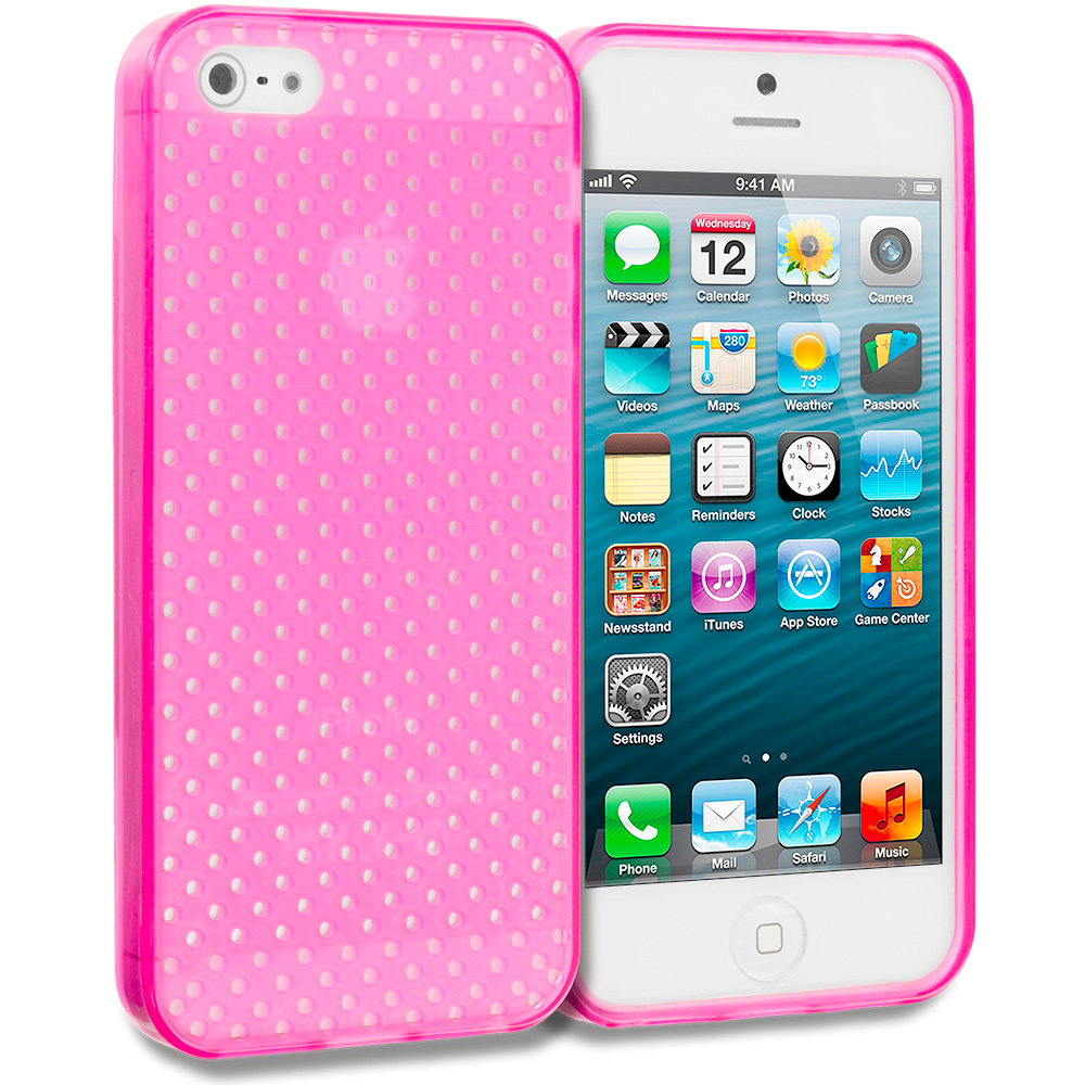 Apple iPhone 5/5S/SE Combo Pack : Hot Pink Mesh TPU Rubber Skin Case Cover : Color Hot Pink Mesh