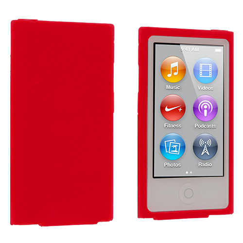 Apple iPod Nano 7th Generation Red Silicone Soft Skin Case Cover