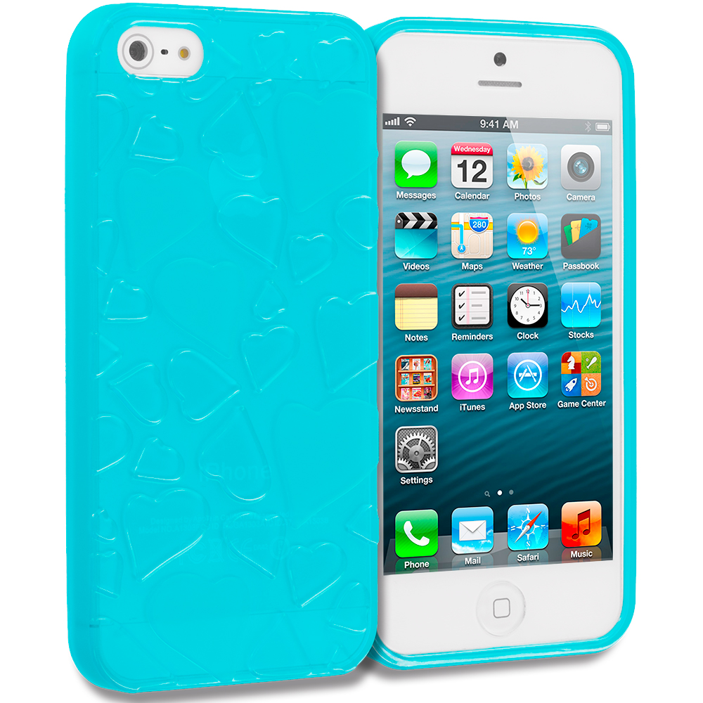 Apple iPhone 5/5S/SE Blue Hearts TPU Rubber Skin Case Cover