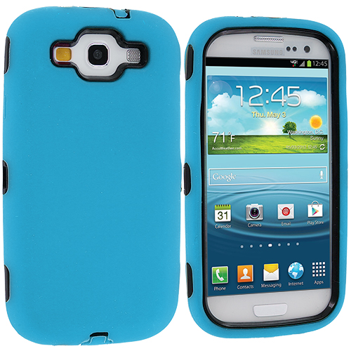 Samsung Galaxy S3 Baby Blue Deluxe Hybrid Deluxe Hard/Soft Case Cover