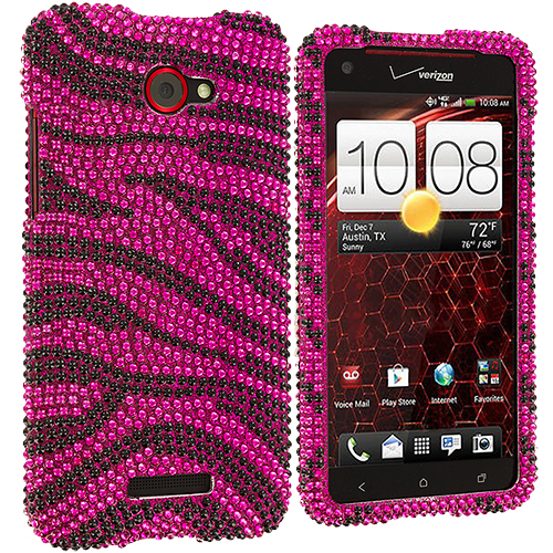 HTC Droid DNA Black / Hot Pink Zebra Bling Rhinestone Case Cover