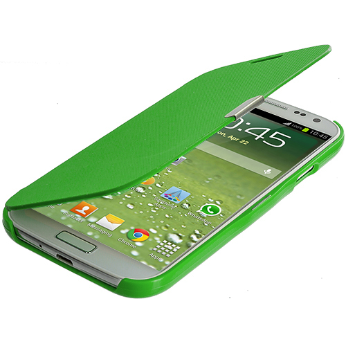 Samsung Galaxy S4 Green Smooth Magnetic Wallet Case Cover Pouch