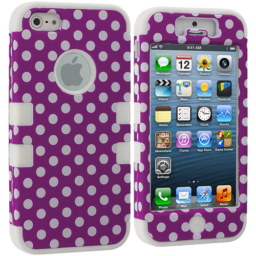 Apple iPhone 5/5S/SE Purple Polka Dot / White Hybrid Tuff Hard/Soft 3-Piece Case Cover
