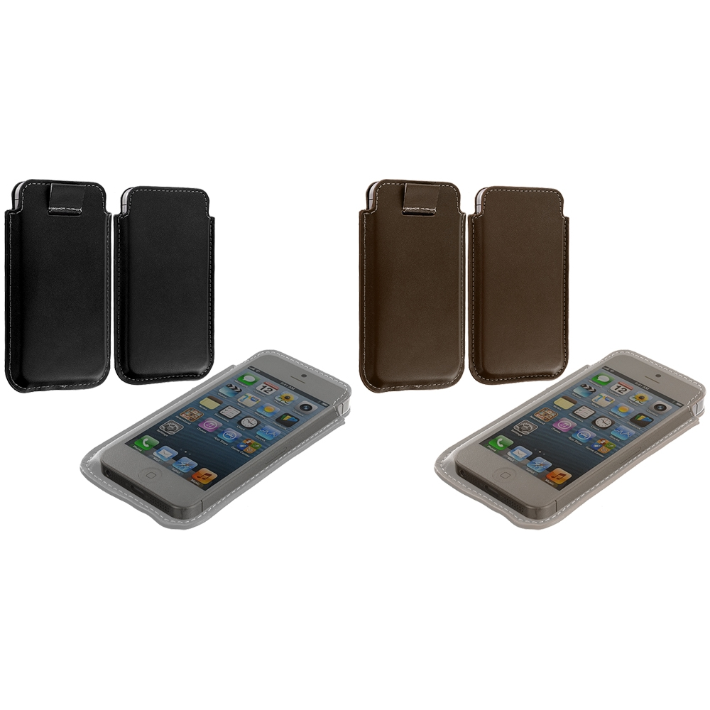 Apple iPhone 5/5S/SE Combo Pack : Black Sleeve Pouch