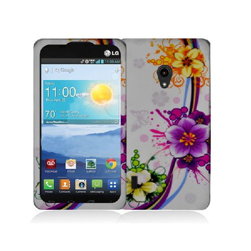 LG Lucid 2 VS870 Purple Flower Chain Hard Rubberized Design Case Cover