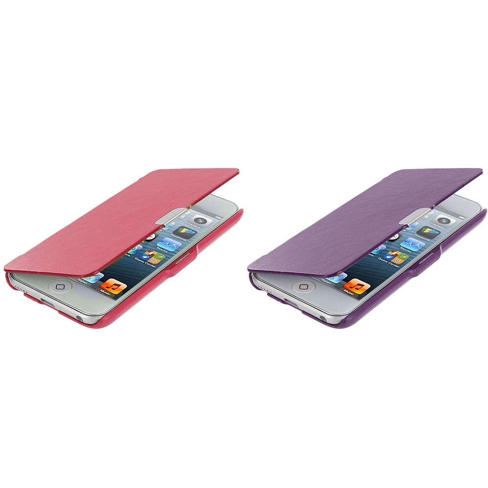 Apple iPod Touch 5th 6th Generation 2 in 1 Combo Bundle Pack - Hot Pink Purple Texture Magnetic Wallet Case Cover Pouch