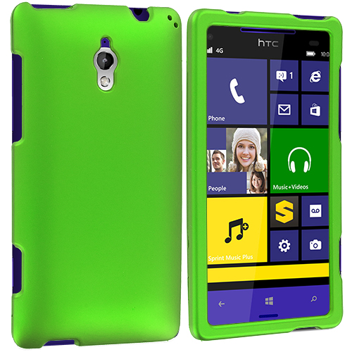 HTC 8XT Neon Green Hard Rubberized Case Cover