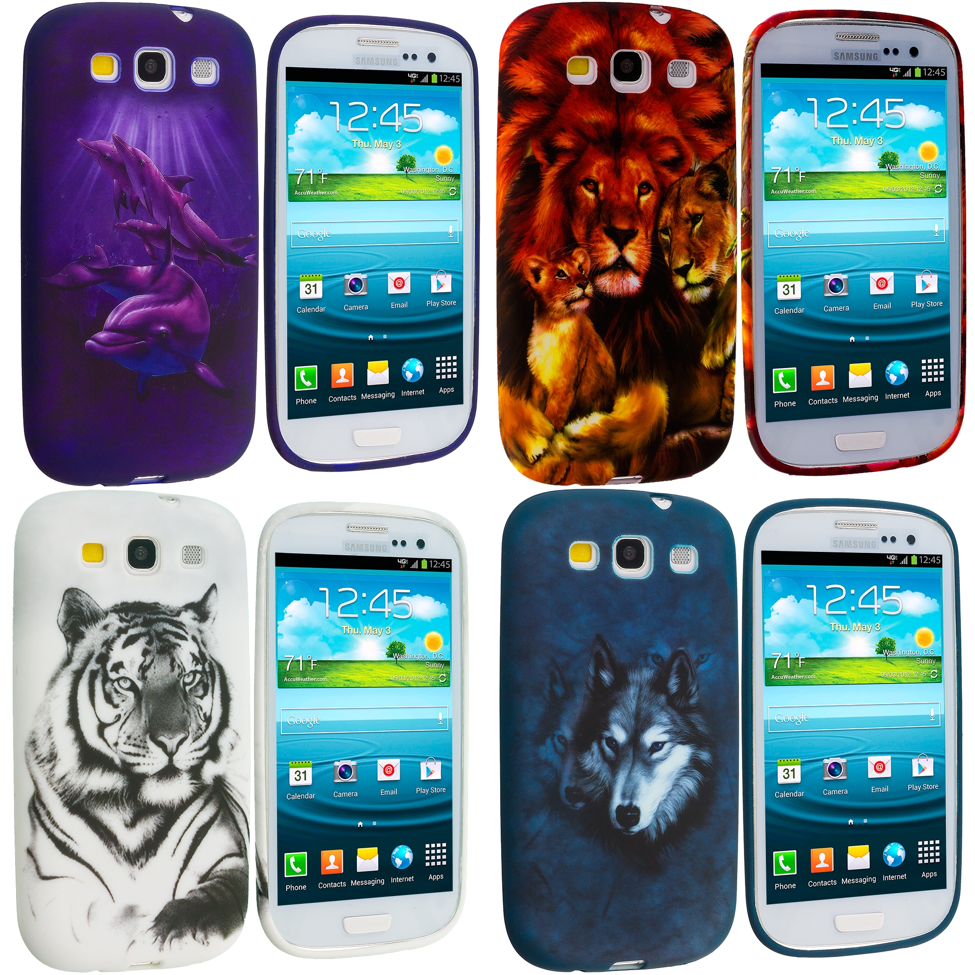 Samsung Galaxy S3 4 in 1 Combo Bundle Pack - Animals TPU Design Soft Case Cover