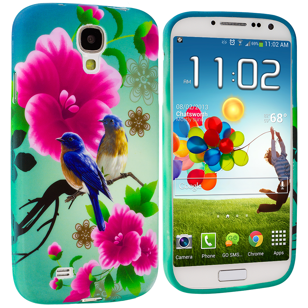 Samsung Galaxy S4 Blue Bird Pink Flower TPU Design Soft Case Cover