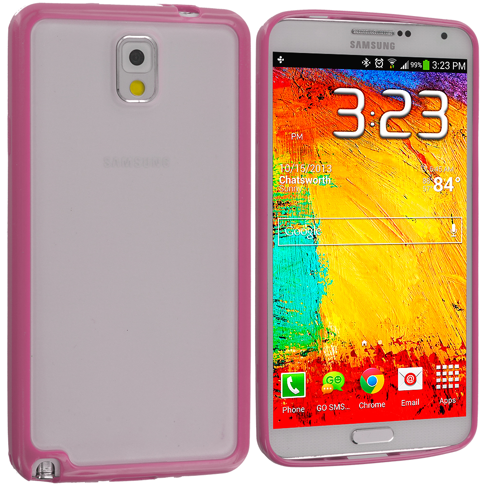 Samsung Galaxy Note 3 N9000 3 in 1 Combo Bundle Pack - Blue Purple Pink TPU Plastic Hybrid Case Cover : Color Pink