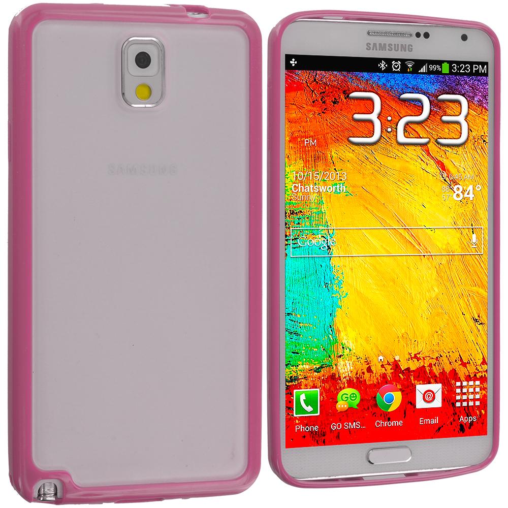 Samsung Galaxy Note 3 N9000 Pink TPU Plastic Hybrid Case Cover