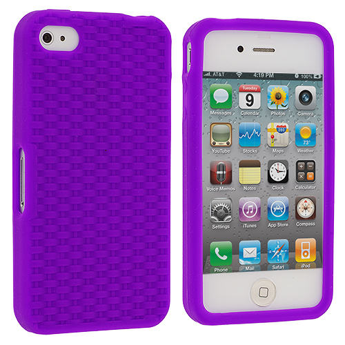 Apple iPhone 4 / 4S Purple Silicone Soft Skin Case Cover