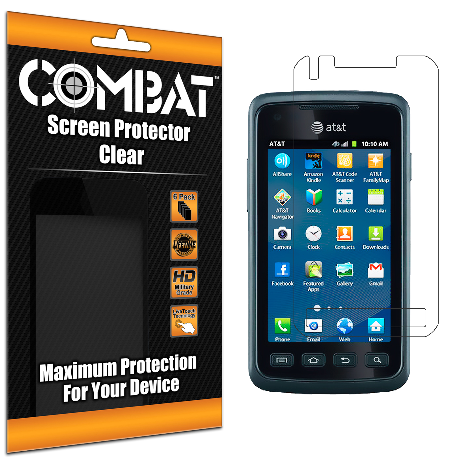 Samsung Rugby Smart i847 Combat 6 Pack HD Clear Screen Protector